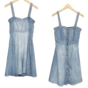 GAP 1969 DENIM BUTTON CONVERTIBLE JUMPER DRESS